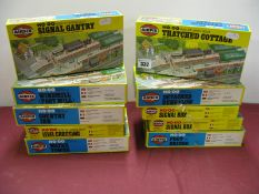 Ten Airfix HO/OO Scale Plastic Model Kits, including footbridge, water tower, windmill, unchecked