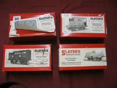 Four 'O'/7mm Scale Built Up Four Wheel Wagons by Slaters, including a Walkers rectangular tank