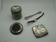 A Hallmarked Silver Cigarette Case, Birmingham 1905, (squashed/damaged) (84grams); a hallmarked