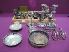A Pair of XIX Century Plated on Copper Candlesticks, together with further assorted plated ware