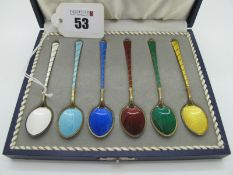 "Egon Lauridsen; A Set of Six Danish Harlequin Enamel Demitasse Spoons, gilt, stamped ""Ela Denmark"