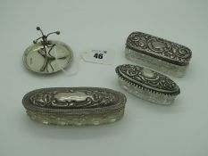 Three Hallmarked Silver Lidded Glass Trinket Boxes, (various makers/dates) (damages), longest