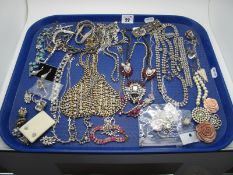 A Selection of Diamante Style Costume Jewellery, including earrings, fancy necklaces, bracelets,