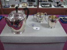 A Hallmarked Silver Three Piece Tea Set, JD&S, Sheffield 1945, each of plain circular form with
