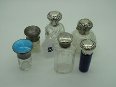 Assorted Hallmarked Silver Topped Glass Bottles, (various makers/dates), including turquoise enamel,