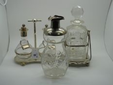 """A Hallmarked Silver Mounted Glass Decanter, Sheffield 1904, """"To W.D. from W.I. and H.W.B. Dec."""
