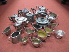 A Collection of Assorted Plated Tea Sets, including EPBM, predominantly of semi reeded form :- One