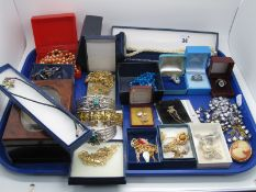 """Assorted Costume Jewellery, including two hinged bangles stamped """"925"""", costume dress rings,"""