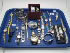 A Small Selection of Modern Ladies Wristwatches, including Solo, Ingersoll, a panel style Swatch,