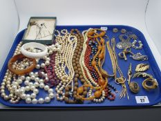 A Mixed Lot of Assorted Costume Jewellery, bead necklaces, imitation pearl beads, a gilt coloured
