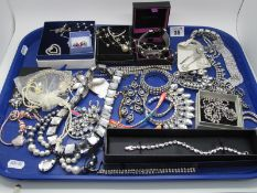 A Selection of Diamante Style Costume Jewellery, including drop earrings, fancy panel style