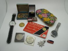Two Gent's Wristwatches, 1983 'The New £1 Coin', proof, further coins, imitation coin set ring, 1953