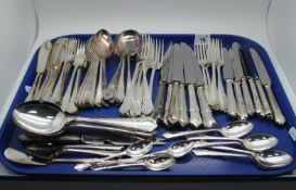 A Six Setting Canteen of Dubarry Pattern Plated Cutlery, including fish knives and forks, cheese