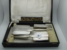 A Matched Hallmarked Silver Three Piece Dressing Table Set, Walker & Hall, Sheffield 1939, Chester