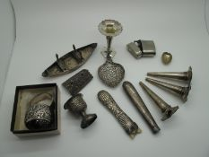 A Set of Three Part Hallmarked Silver Flutes, possibly Birmingham 1907, 9cm long (damages) (