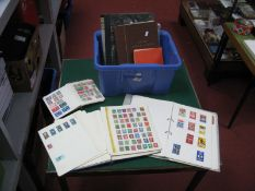 A Box with Six Stamp Albums of World Stamps, mixed condition but some useful material, George VI