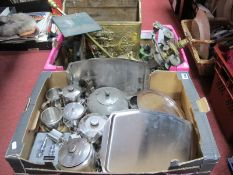 Stainless Steel Table Ware, plated trays, hip flasks, brass magazine rack, scales, etc:- Two Boxes