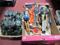Action Men and Similar Figures, jeeps, etc:- Two Boxes
