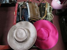 Ladies Italian Leather and Other Handbags, two designer special occasion hats:- Two Boxes