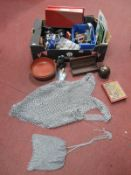 Chain Mail Vest and Bag, souvenir spoons, trophy stands, draughts, etc:- One Box