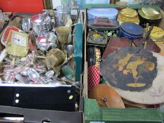 Cutlery, photograph frames, Old Hall stainless steel tea pot, hot water jug, Chinoiserie fan,