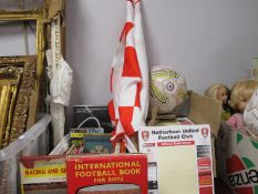 Barnsley Football Programmes, flags, Rotherham Team Sheets, ball, etc.