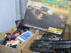Two Boxes of Scalextric, including modern track, car and trackside accessories.