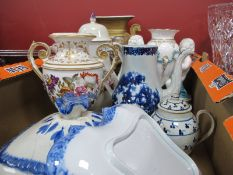 XIX Century and Earlier Vases, teapots plus ceramics, all with faults:- One Box