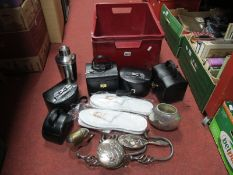 Five Jewellery Boxes, slippers, dressing table ware, etc:- One Box