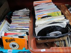 45 RPM Records, various genres, many 1970's and 80's, many in sleeves:- Three Plastics Boxes