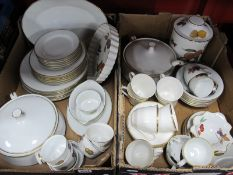 Royal Worcester 'Evesham' Table Pottery, of thirty one pieces, six Doulton 'Gold Concord' cups and