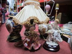 Three Chinese Pottery Table Lamps, Girandi and Florence examples. (5)