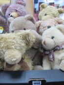 Teddy Bears - Gold Plush, to include 'Winston' 'Brand Loyalty', ;Netro'. 'Erin'. (6)