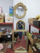 A Gilt Arched Framed Wall Mirror, 127cm high, rectangular wall mirror, ova example with tidy shelf.