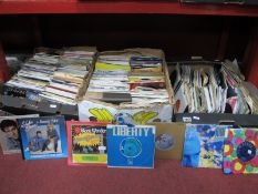 45 RPM Records, various genres, many 1970's and 80's, many in sleeves:- Three Boxes