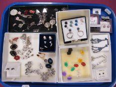 Assorted Costume Earrings, including flowerhead earstuds, etc :- One Tray