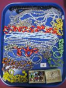 Assorted Vintage and Other Bead Necklaces, including foil beads etc :- One Tray