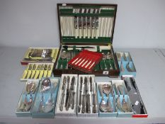 Six Setting Kings Pattern Plated Cutlery, boxed, a part canteen, boxed cake forks etc.