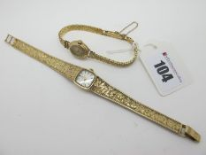 Omega; A Vintage 9ct Gold Cased Ladies Wristwatch, the signed cushion dial with line markers,