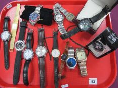 Assorted Wristwatches, including Accurist Skymaster, etc :- One Tray