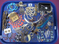 Assorted Costume Jewellery, including imitation pearls, earrings, necklaces, etc :- One Tray