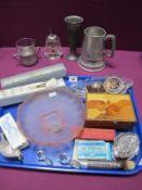 Lead Crystal Handled Makeup Brushes, musical pewter mug, marquetry box, shaving brush, novelty lemon