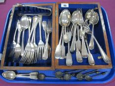 A Set of Three Hallmarked Silver Fiddle Pattern Teaspoons, initialled; a set of EPNS coffee