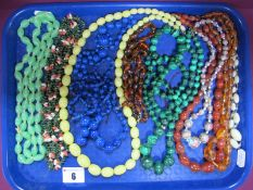 Malachite and Other Bead Necklaces, amber etc :- One Tray