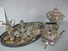 A XIX Century Plated Samovar, overall height 33.5cm; together with a large oval plated tray, a
