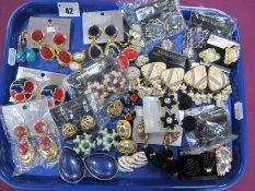 A Collection of Assorted Clip Earrings :- One Tray