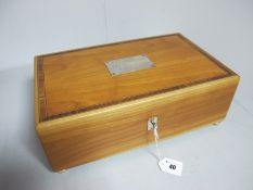 """A Modern Wooden Box, the hinged lid with hallmarked silver plaque """"The Queen Mother Collection"""" ("""
