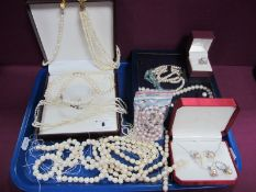 Assorted Lengths of Modern Fresh Water Pearl Beads, (for re-stringing), matching earrings/pendant/