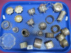 A Collection of Assorted Hallmarked Silver Cruet Items, including two pairs of salts, pair of