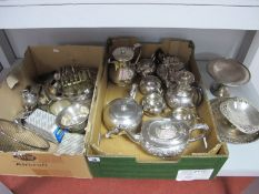 WITHDRAWN - Hallmarked Silver an Other Cruet Items, assorted plated tea wares, toast rack, sauce bo